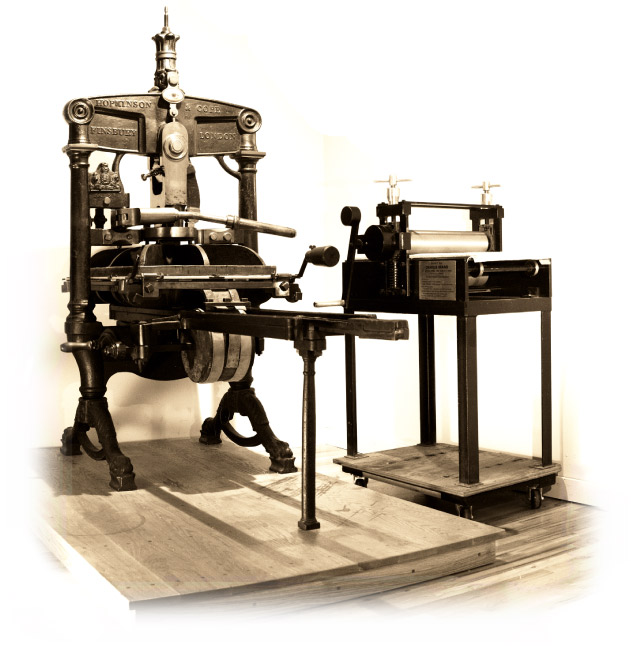 Two of our presses: a circa 1850s Albion letterpress and a Charles Brand intaglio press.